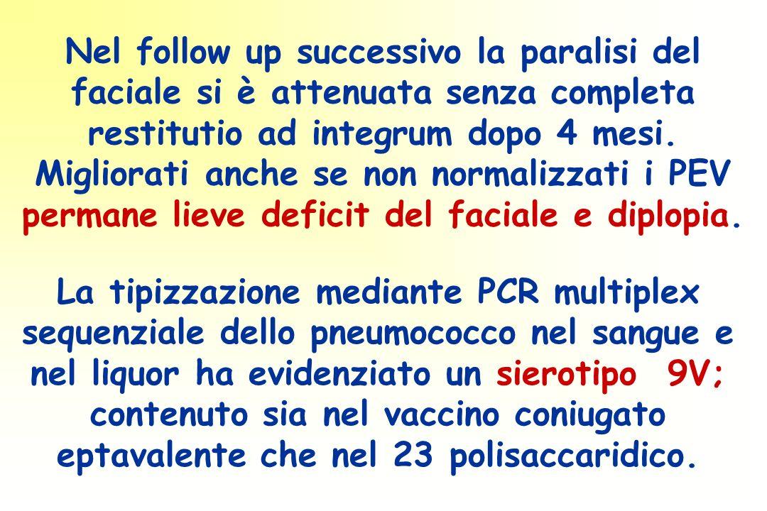 Nel follow up successivo la paralisi del faciale si è attenuata senza completa restitutio ad integrum dopo 4 mesi.