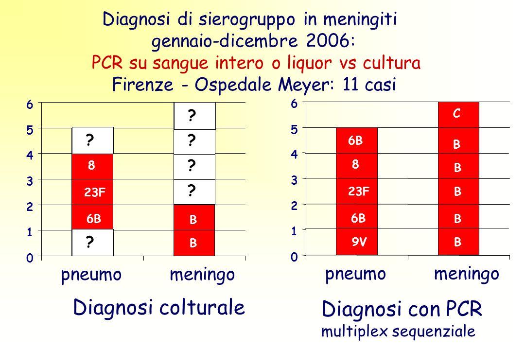 Diagnosi di sierogruppo in meningiti gennaio-dicembre 2006: PCR su sangue intero o liquor vs cultura Firenze - Ospedale Meyer: 11 casi 0 1 2 3 4 5 6 pneumomeningo Diagnosi con PCR multiplex sequenziale B B B 9V 23F B B C 6B 8 0 1 2 3 4 5 6 pneumomeningo Diagnosi colturale B B B V 23F B B C 6B 8 .