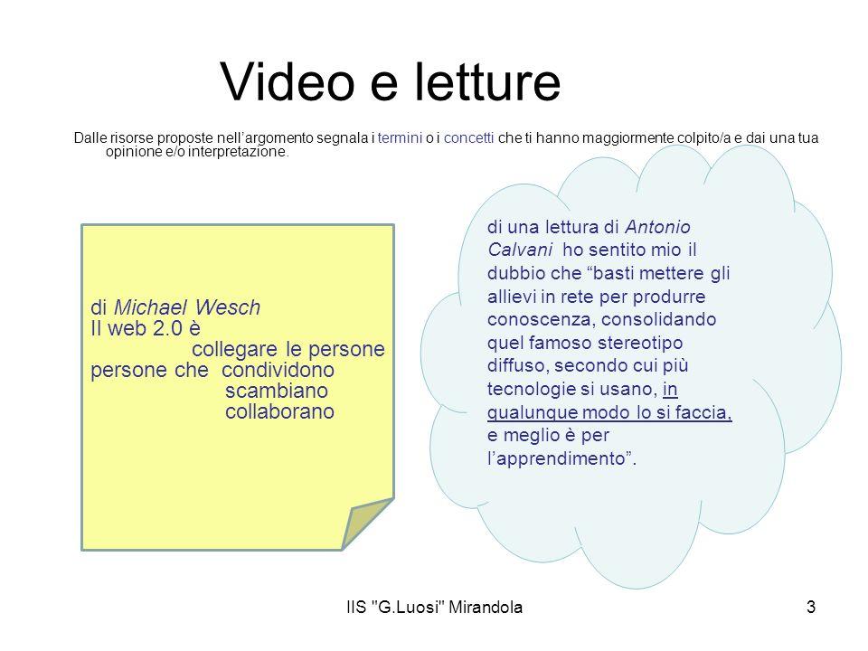 IIS G.Luosi Mirandola3 Video e letture Dalle risorse proposte nellargomento segnala i termini o i concetti che ti hanno maggiormente colpito/a e dai una tua opinione e/o interpretazione.