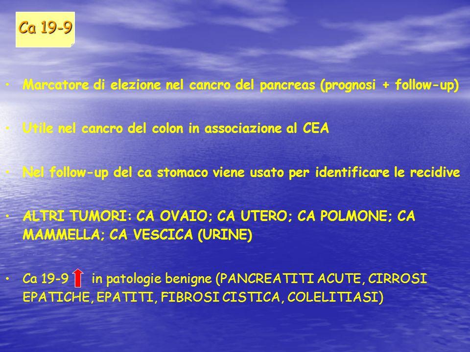 Marcatore di elezione nel cancro del pancreas (prognosi + follow-up) Utile nel cancro del colon in associazione al CEA Nel follow-up del ca stomaco vi