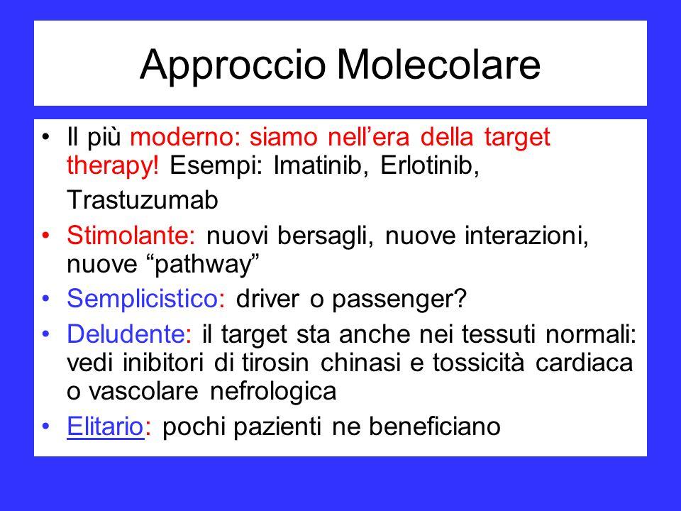 Approccio Molecolare Il più moderno: siamo nellera della target therapy! Esempi: Imatinib, Erlotinib, Trastuzumab Stimolante: nuovi bersagli, nuove in