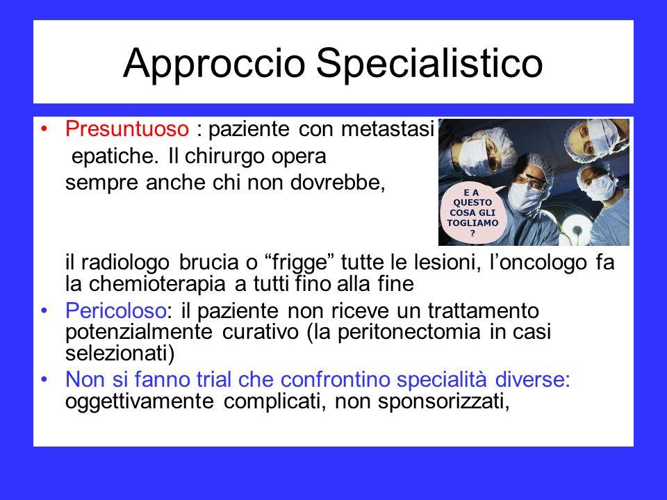 Approccio Specialistico Presuntuoso : paziente con metastasi epatiche. Il chirurgo opera sempre anche chi non dovrebbe, il radiologo brucia o frigge t