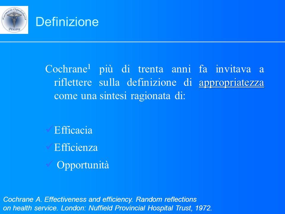 Definizione appropriatezza Cochrane 1 più di trenta anni fa invitava a riflettere sulla definizione di appropriatezza come una sintesi ragionata di: E