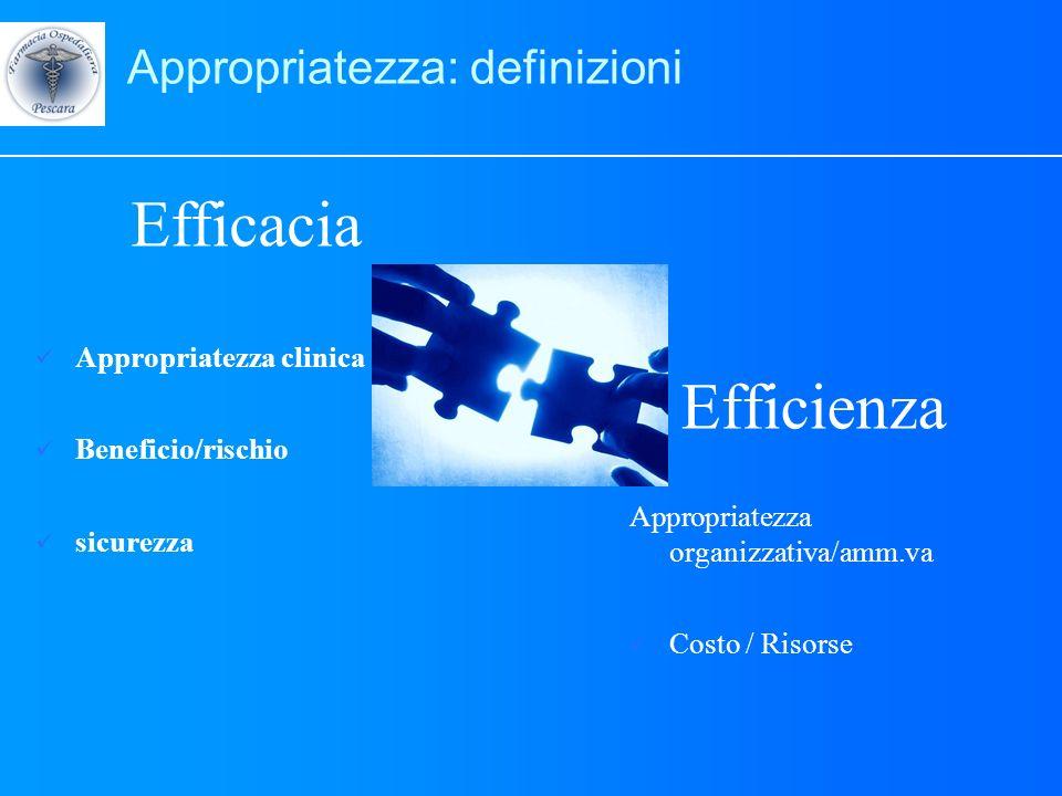 Appropriatezza: definizioni Efficacia Appropriatezza clinica Beneficio/rischio sicurezza Efficienza Appropriatezza organizzativa/amm.va Costo / Risors