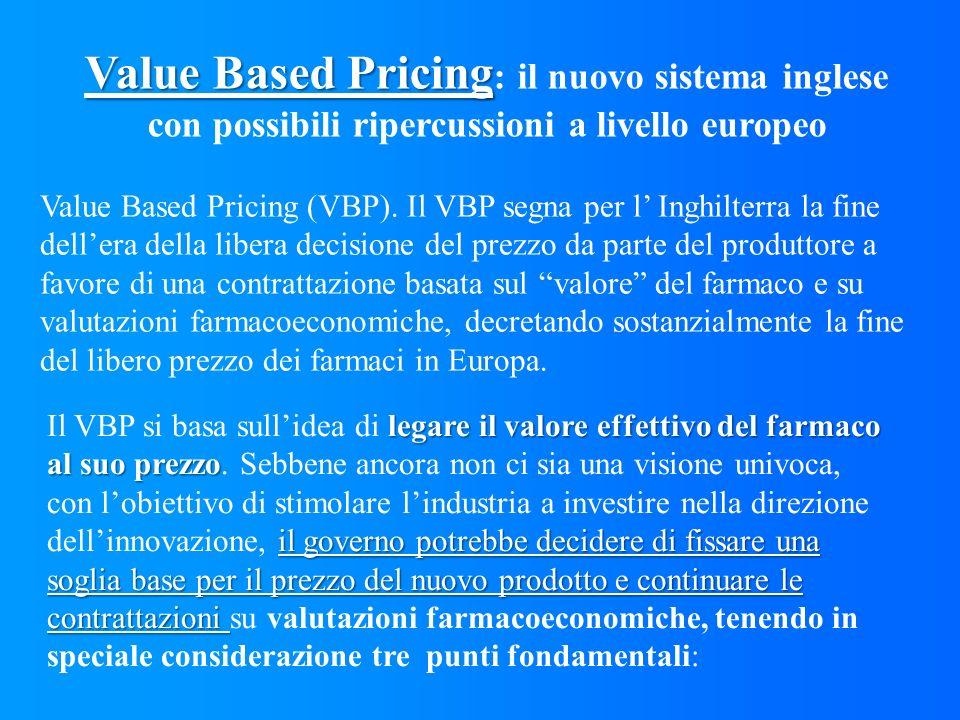 Value Based Pricing Value Based Pricing : il nuovo sistema inglese con possibili ripercussioni a livello europeo Value Based Pricing (VBP). Il VBP seg
