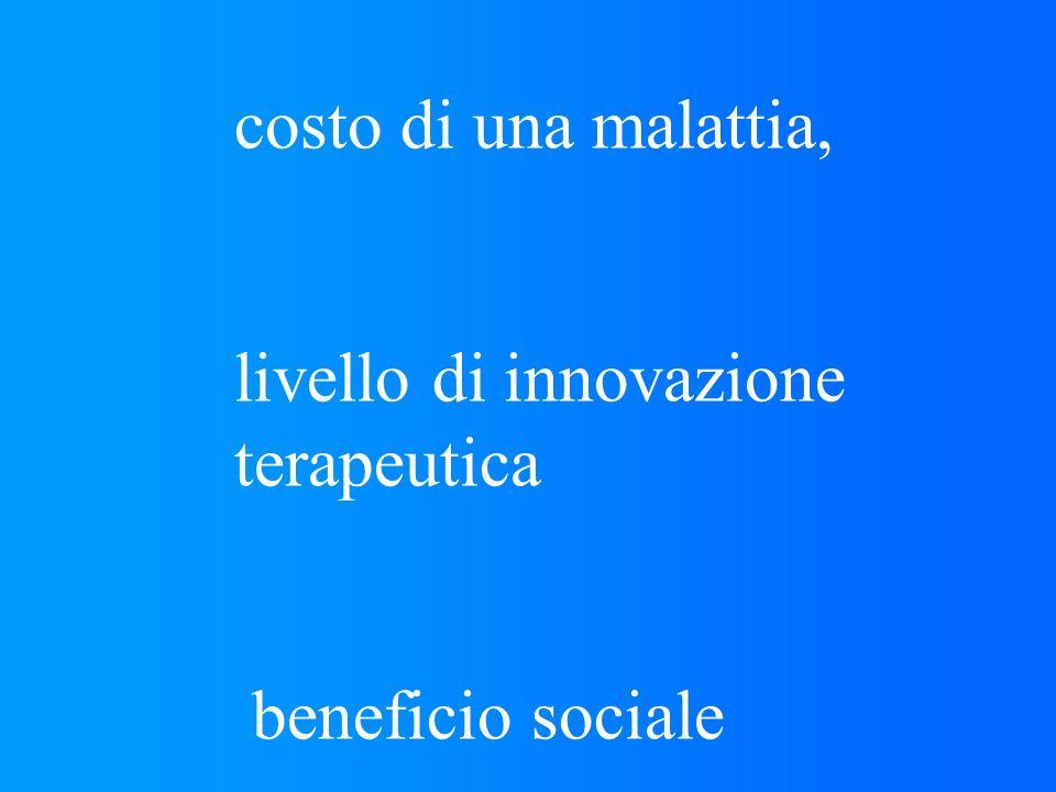 costo di una malattia, livello di innovazione terapeutica beneficio sociale