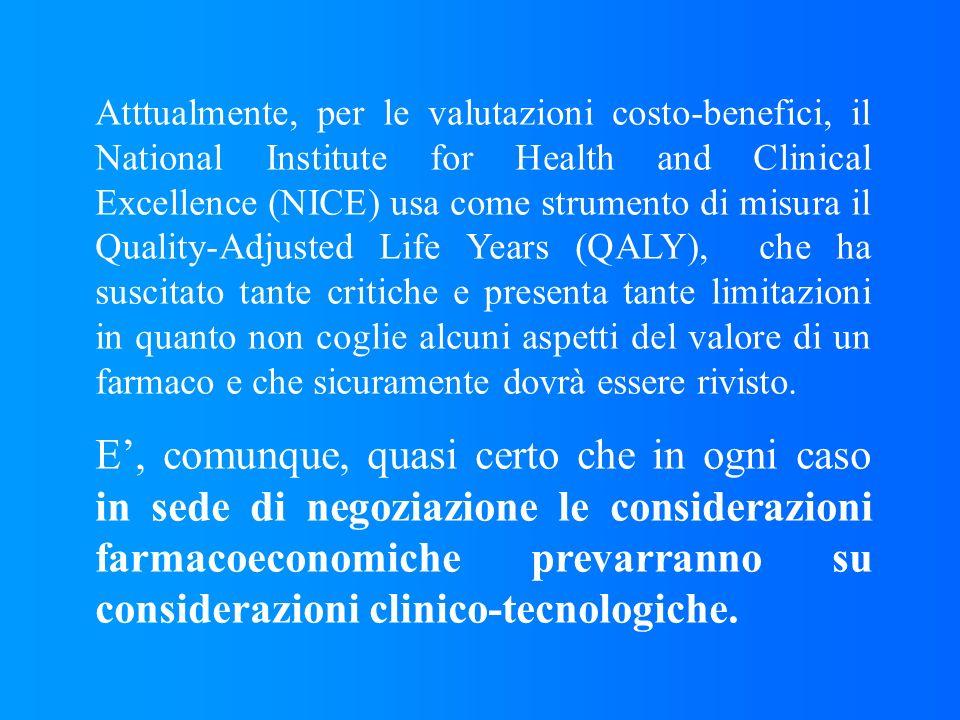 Atttualmente, per le valutazioni costo-benefici, il National Institute for Health and Clinical Excellence (NICE) usa come strumento di misura il Quali
