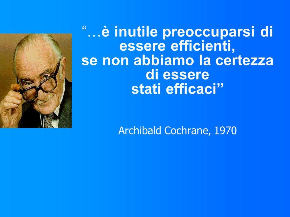 …è inutile preoccuparsi di essere efficienti, se non abbiamo la certezza di essere stati efficaci Archibald Cochrane, 1970