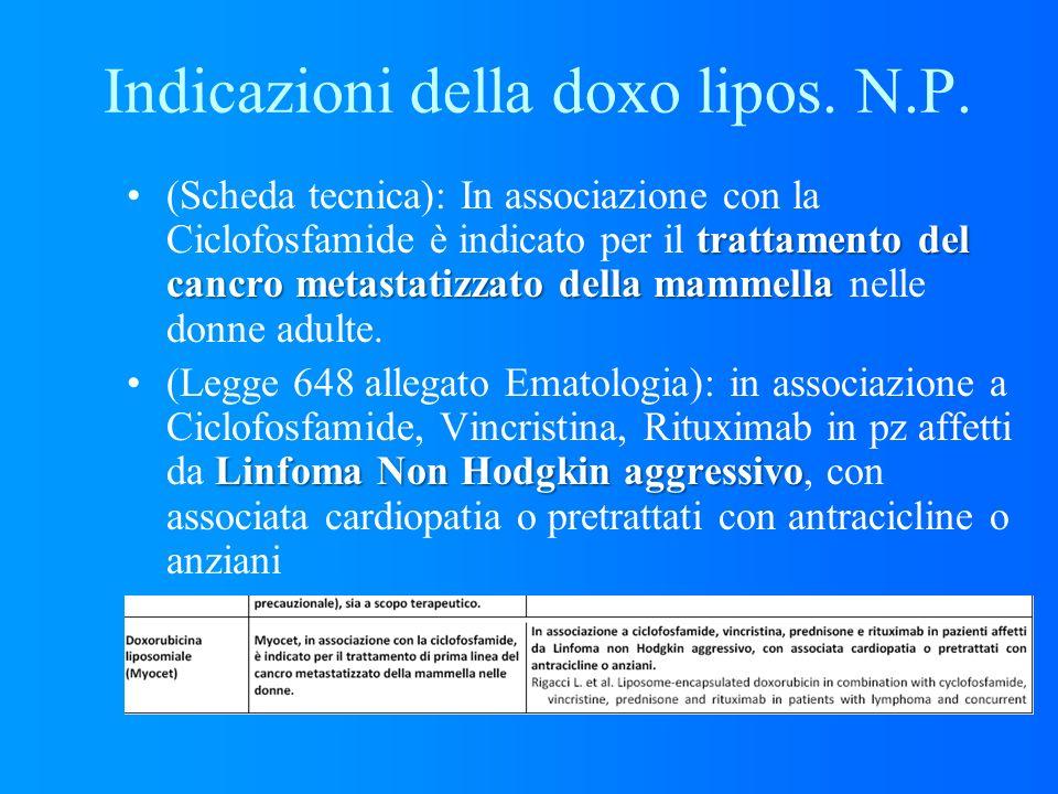 Indicazioni della doxo lipos. N.P. trattamento del cancro metastatizzato della mammella(Scheda tecnica): In associazione con la Ciclofosfamide è indic