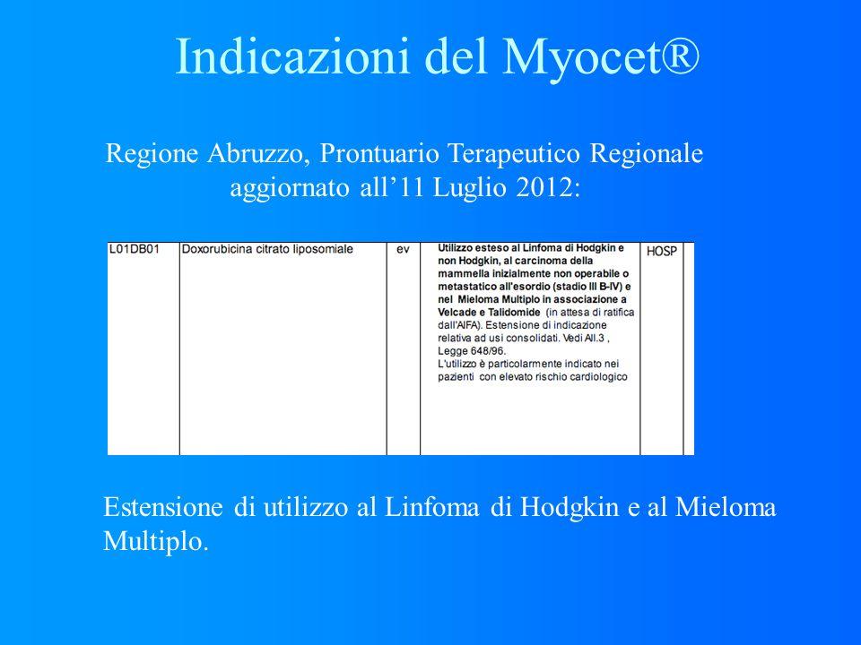 Regione Abruzzo, Prontuario Terapeutico Regionale aggiornato all11 Luglio 2012: Estensione di utilizzo al Linfoma di Hodgkin e al Mieloma Multiplo. In