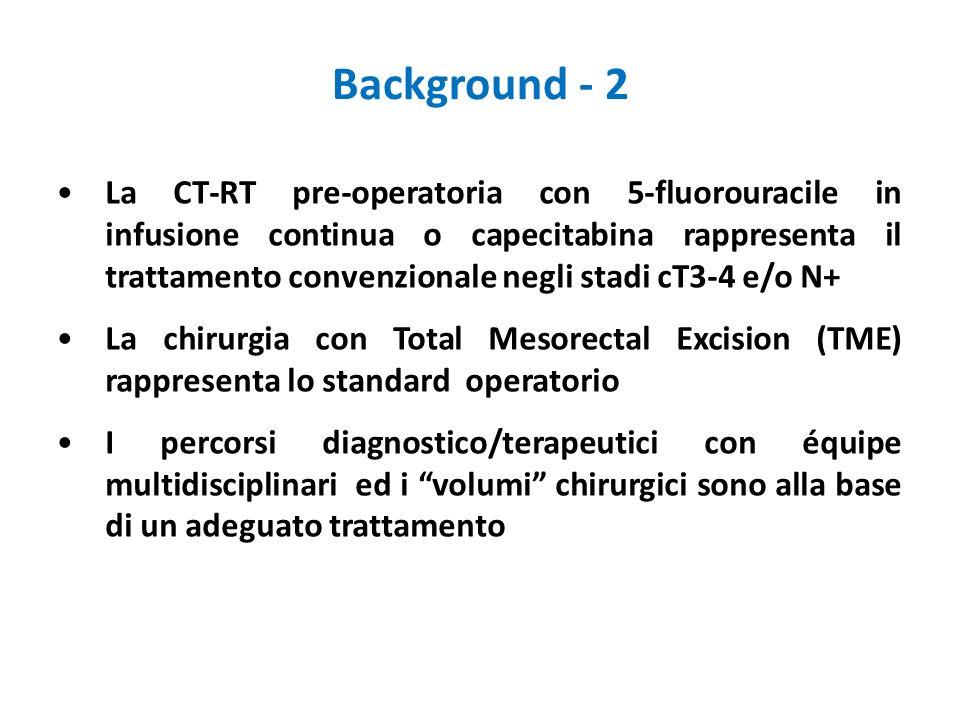 La CT-RT pre-operatoria con 5-fluorouracile in infusione continua o capecitabina rappresenta il trattamento convenzionale negli stadi cT3-4 e/o N+ La