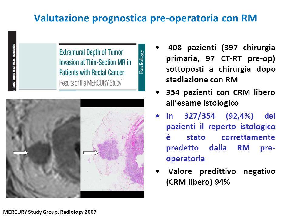 Valutazione prognostica pre-operatoria con RM 408 pazienti (397 chirurgia primaria, 97 CT-RT pre-op) sottoposti a chirurgia dopo stadiazione con RM 35