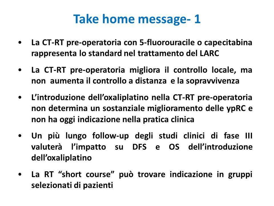 Take home message- 1 La CT-RT pre-operatoria con 5-fluorouracile o capecitabina rappresenta lo standard nel trattamento del LARC La CT-RT pre-operator