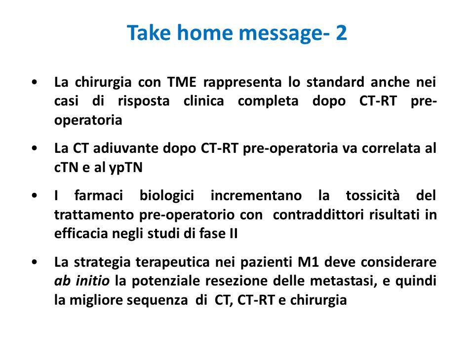 Take home message- 2 La chirurgia con TME rappresenta lo standard anche nei casi di risposta clinica completa dopo CT-RT pre- operatoria La CT adiuvan