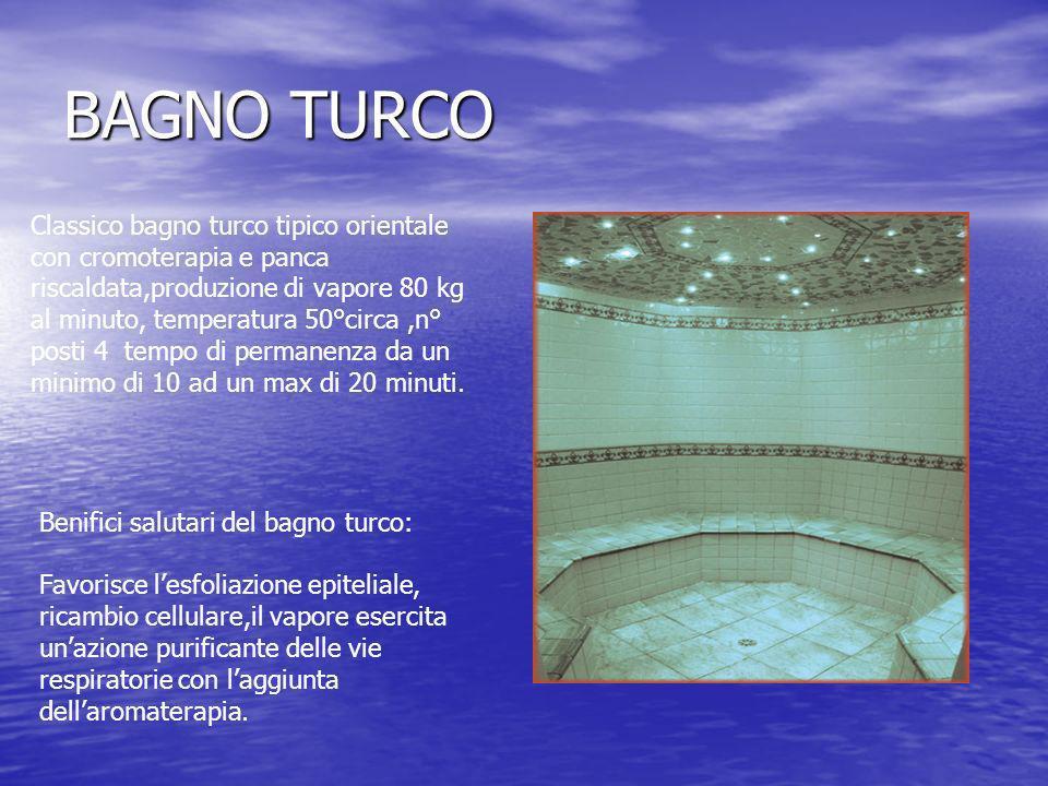BAGNO TURCO Classico bagno turco tipico orientale con cromoterapia e panca riscaldata,produzione di vapore 80 kg al minuto, temperatura 50°circa,n° po