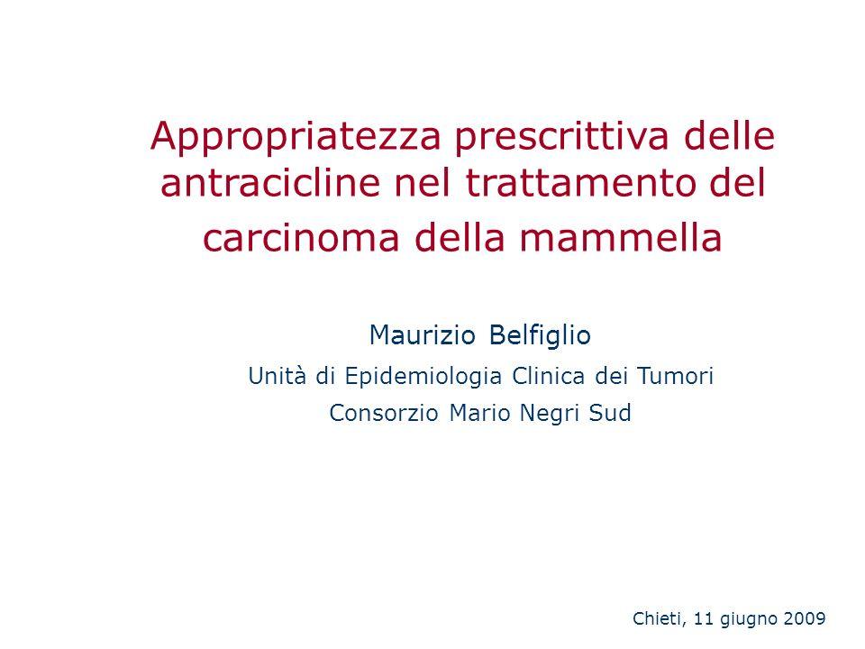Appropriatezza prescrittiva delle antracicline nel trattamento del carcinoma della mammella Maurizio Belfiglio Unità di Epidemiologia Clinica dei Tumo