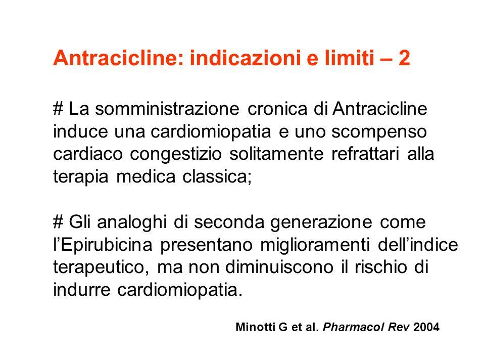 Antracicline: indicazioni e limiti – 3 La cardiotossicità è esponenzialmente dose-dipendente con una incidenza media di CHF < 5,0% per 450 mg/mq (DOXO) e 900 (EPI); Singoli eventi di CHF sono stati osservati a partire da dosaggi cumulativi di 300 mg/mq di DOXO e 550 mg/mq per EPI; Le strategie di limitazione del dosaggio negli attuali schemi di trattamento adiuvante del ca.