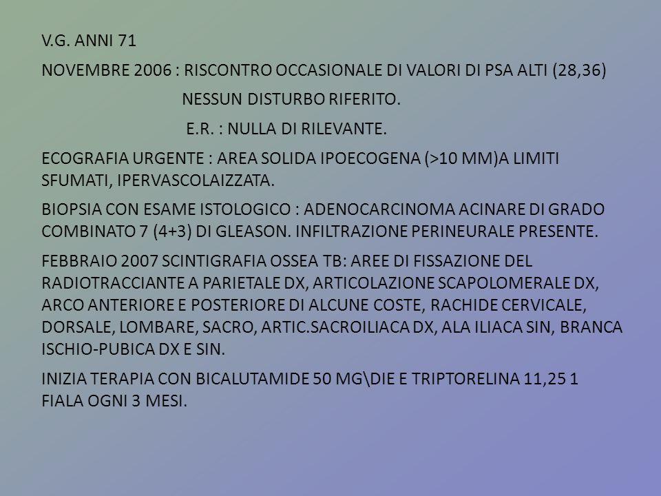 V.G. ANNI 71 NOVEMBRE 2006 : RISCONTRO OCCASIONALE DI VALORI DI PSA ALTI (28,36) NESSUN DISTURBO RIFERITO. E.R. : NULLA DI RILEVANTE. ECOGRAFIA URGENT