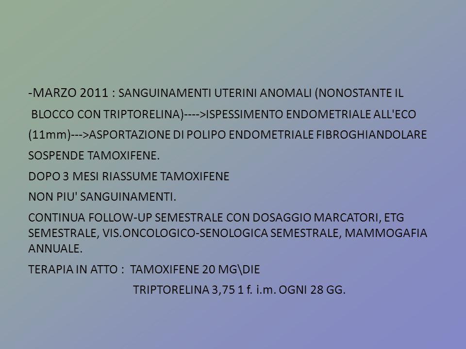 -MARZO 2011 : SANGUINAMENTI UTERINI ANOMALI (NONOSTANTE IL BLOCCO CON TRIPTORELINA)---->ISPESSIMENTO ENDOMETRIALE ALL'ECO (11mm)--->ASPORTAZIONE DI PO