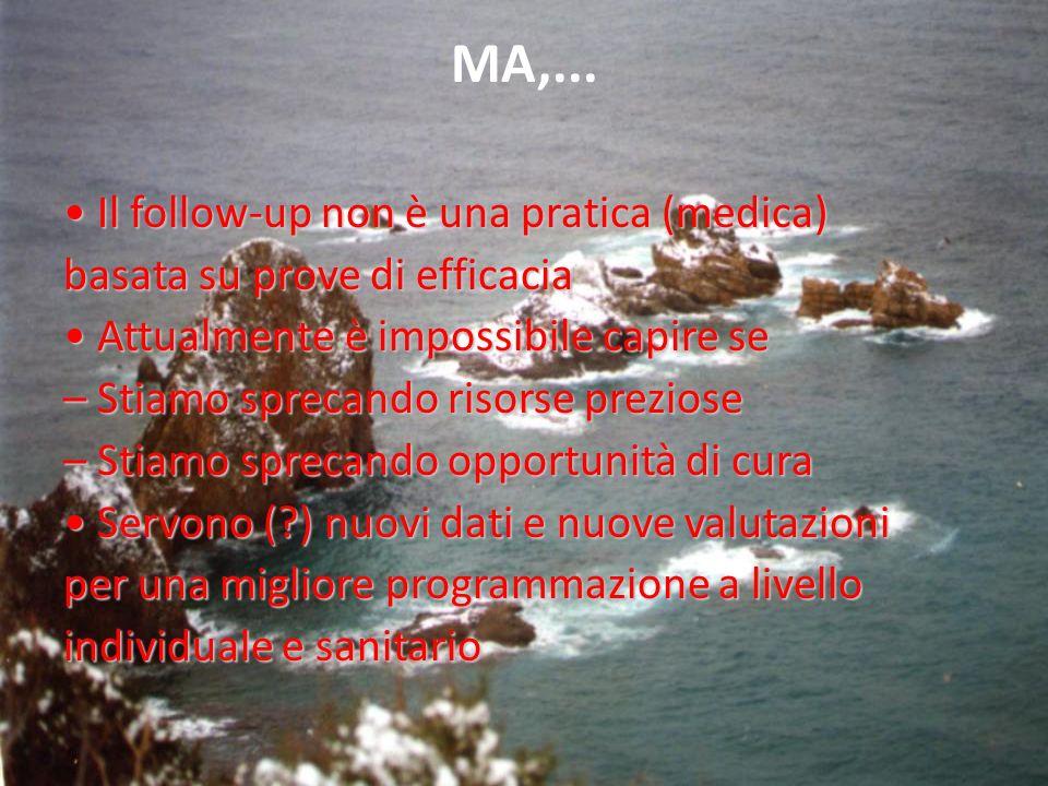 MA,... Il follow-up non è una pratica (medica) Il follow-up non è una pratica (medica) basata su prove di efficacia Attualmente è impossibile capire s