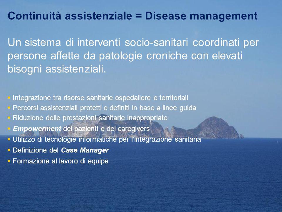 Continuità assistenziale = Disease management Un sistema di interventi socio-sanitari coordinati per persone affette da patologie croniche con elevati
