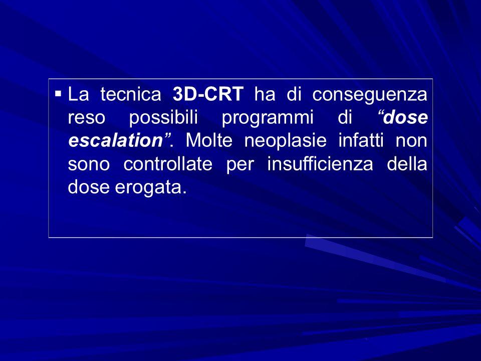 La tecnica 3D-CRT ha di conseguenza reso possibili programmi di dose escalation. Molte neoplasie infatti non sono controllate per insufficienza della