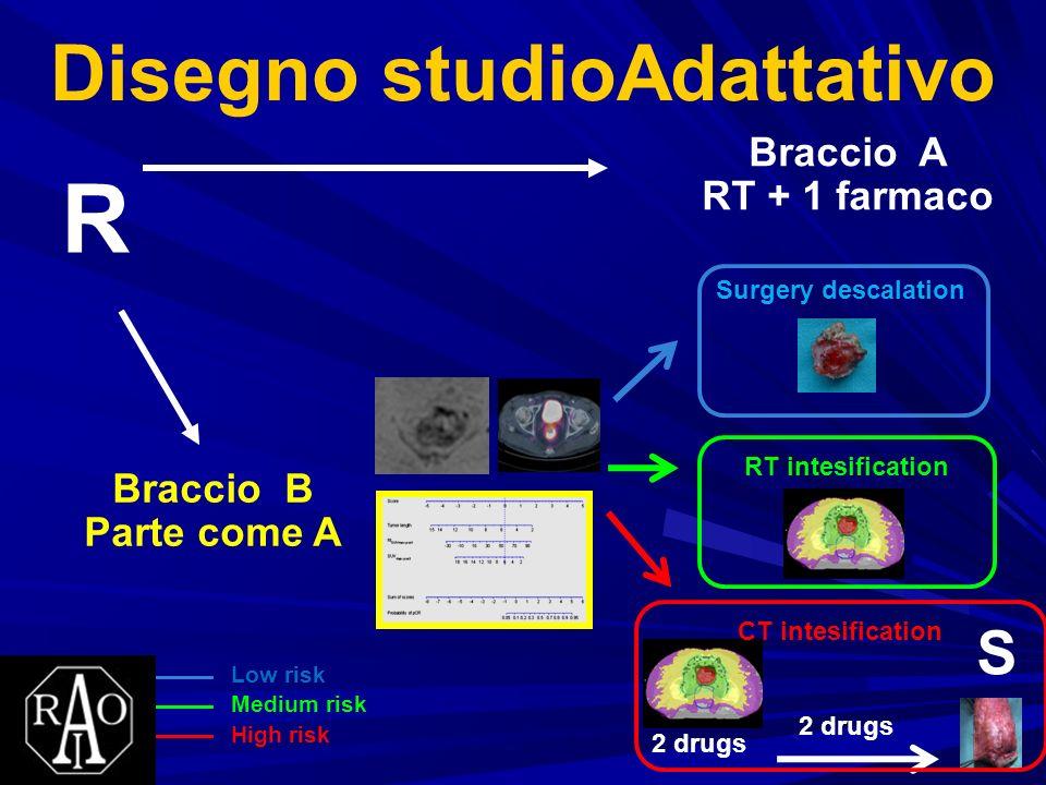 Disegno studioAdattativo Braccio A RT + 1 farmaco R Braccio B Parte come A Surgery descalation RT intesification 2 drugs S CT intesification Low risk