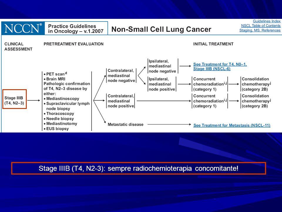 Stage IIIB (T4, N2-3): sempre radiochemioterapia concomitante!