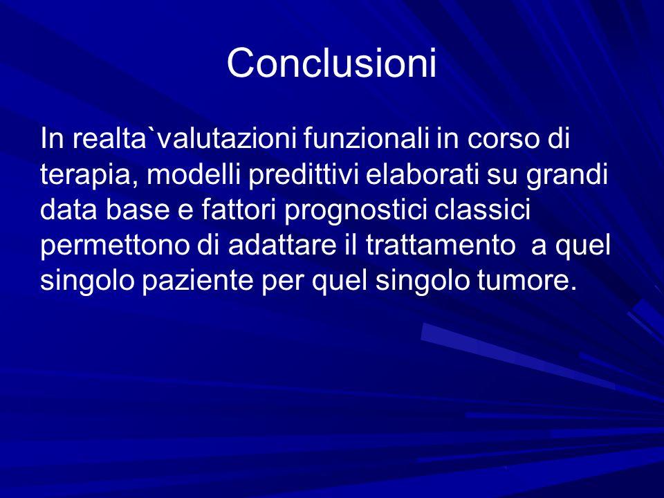 Conclusioni In realta`valutazioni funzionali in corso di terapia, modelli predittivi elaborati su grandi data base e fattori prognostici classici perm