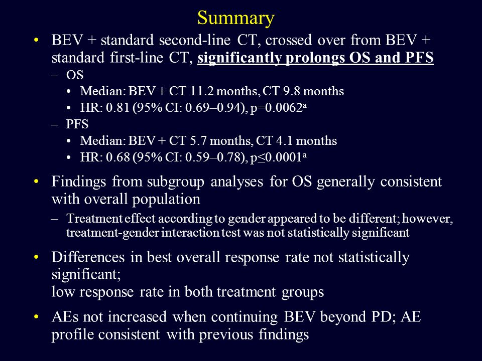 Summary BEV + standard second-line CT, crossed over from BEV + standard first-line CT, significantly prolongs OS and PFS –OS Median: BEV + CT 11.2 mon