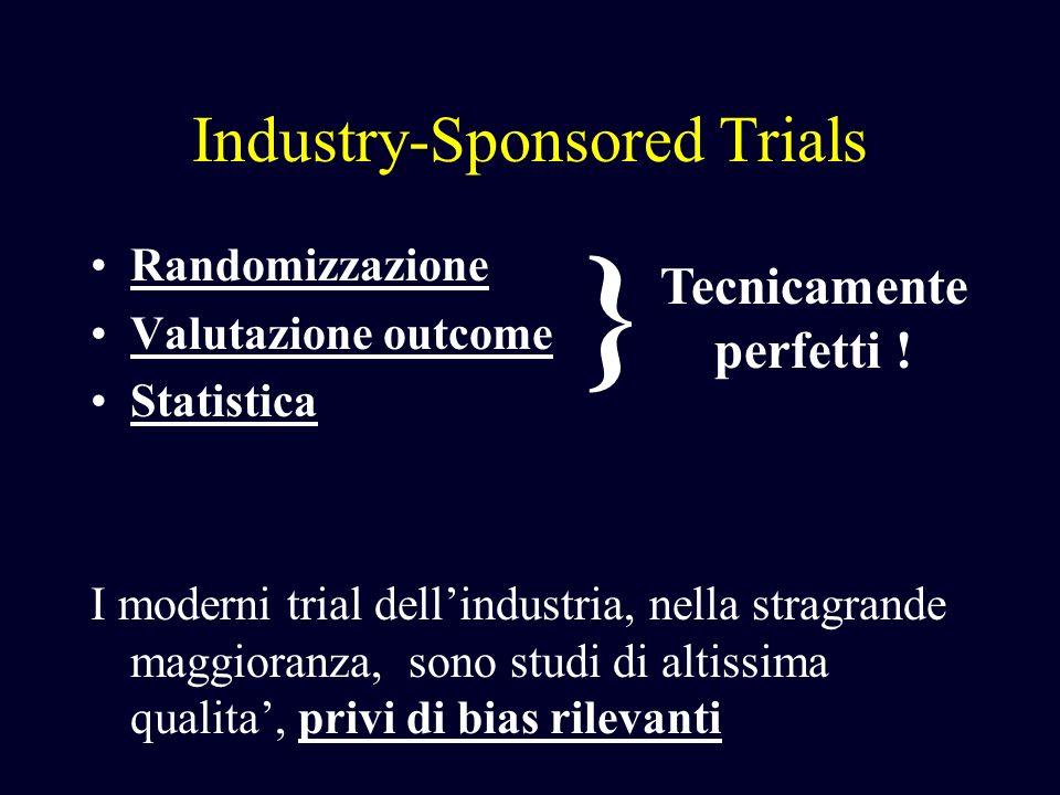 Industry-Sponsored Trials Randomizzazione Valutazione outcome Statistica I moderni trial dellindustria, nella stragrande maggioranza, sono studi di al