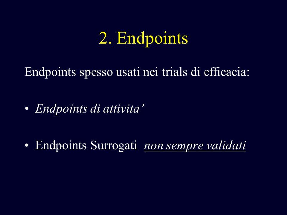 2. Endpoints Endpoints spesso usati nei trials di efficacia: Endpoints di attivita Endpoints Surrogati non sempre validati