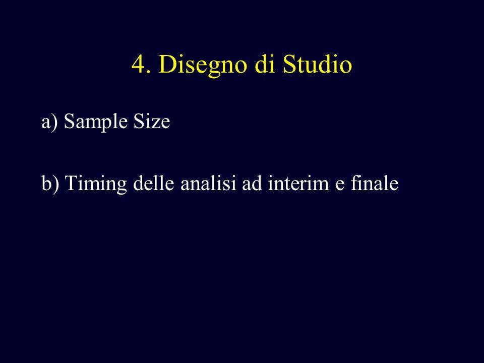 4. Disegno di Studio a) Sample Size b) Timing delle analisi ad interim e finale