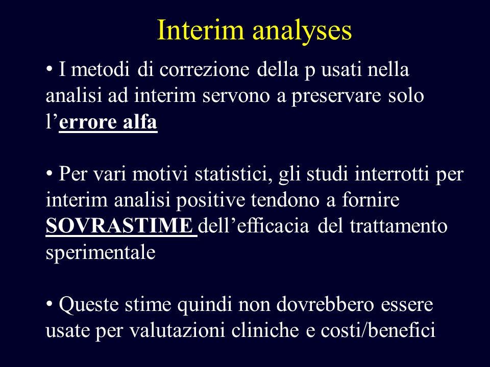 Interim analyses I metodi di correzione della p usati nella analisi ad interim servono a preservare solo lerrore alfa Per vari motivi statistici, gli