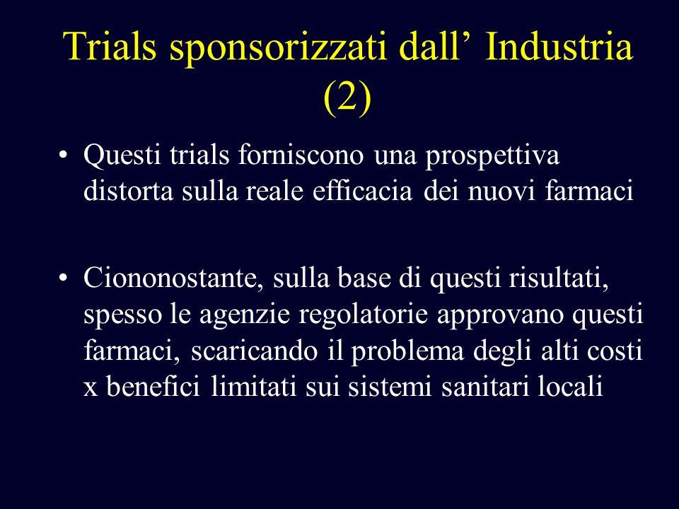 Trials sponsorizzati dall Industria (2) Questi trials forniscono una prospettiva distorta sulla reale efficacia dei nuovi farmaci Ciononostante, sulla