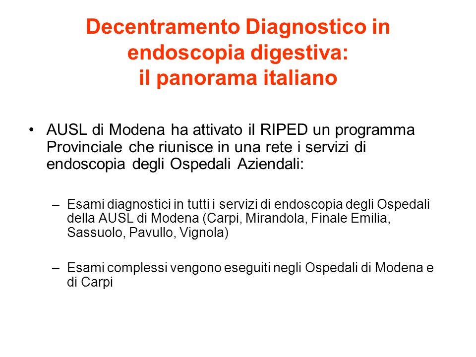 Decentramento Diagnostico in endoscopia digestiva: il panorama italiano AUSL di Modena ha attivato il RIPED un programma Provinciale che riunisce in u