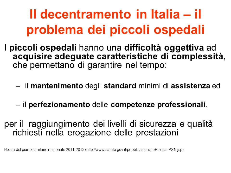 Il decentramento in Italia – il problema dei piccoli ospedali I piccoli ospedali hanno una difficoltà oggettiva ad acquisire adeguate caratteristiche