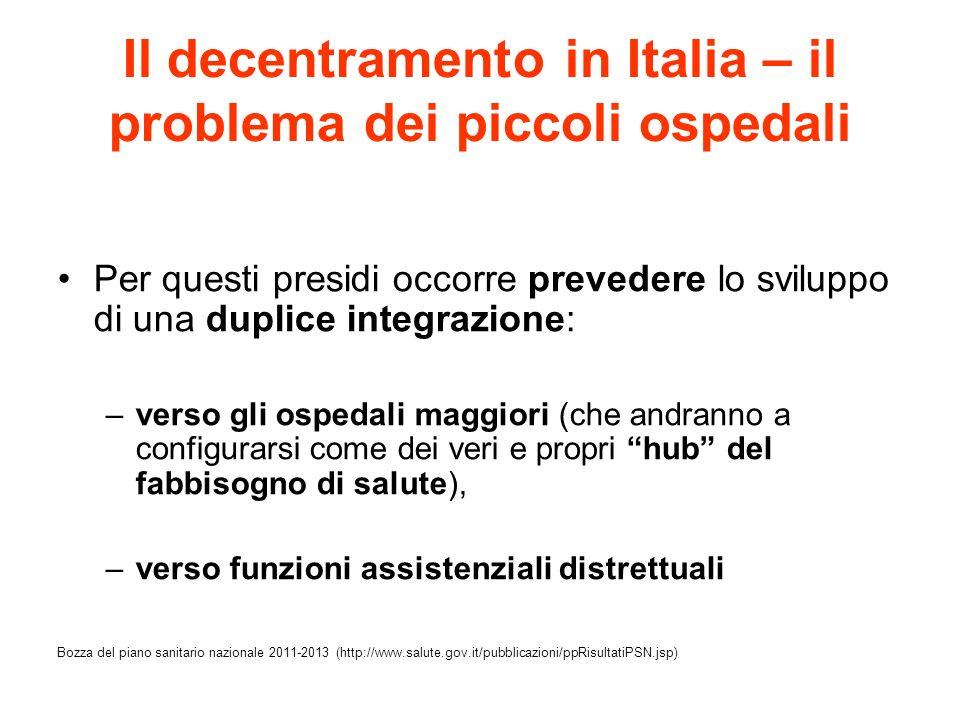 Il decentramento in Italia – il problema dei piccoli ospedali Per questi presidi occorre prevedere lo sviluppo di una duplice integrazione: –verso gli
