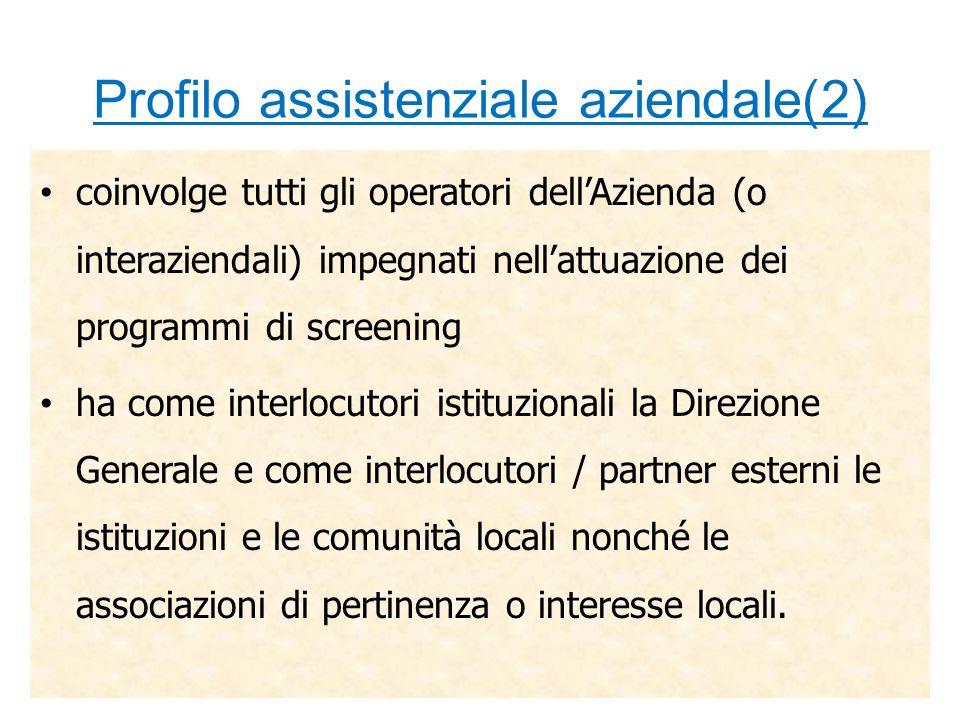 Profilo assistenziale aziendale(2) coinvolge tutti gli operatori dellAzienda (o interaziendali) impegnati nellattuazione dei programmi di screening ha