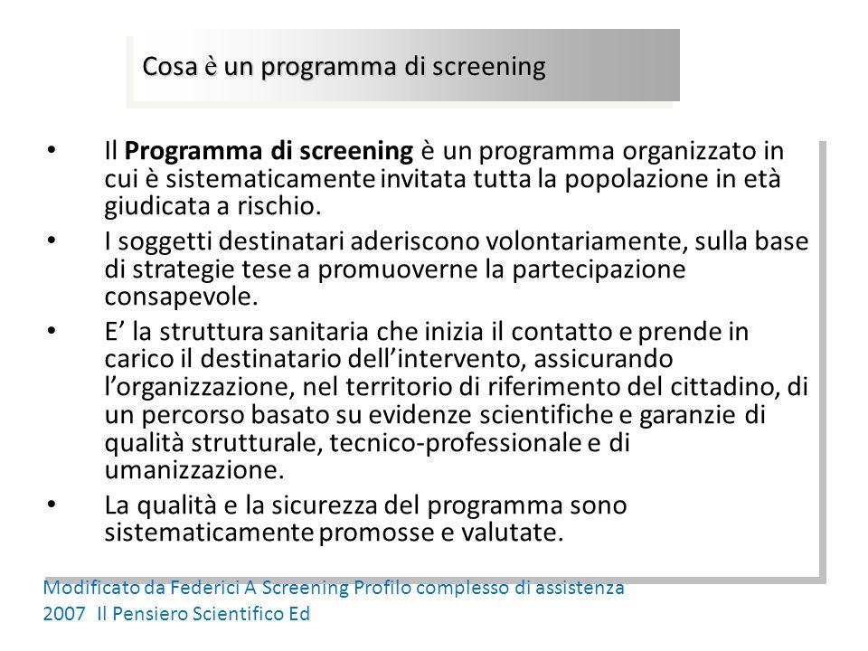 Il Programma di screening è un programma organizzato in cui è sistematicamente invitata tutta la popolazione in età giudicata a rischio. I soggetti de