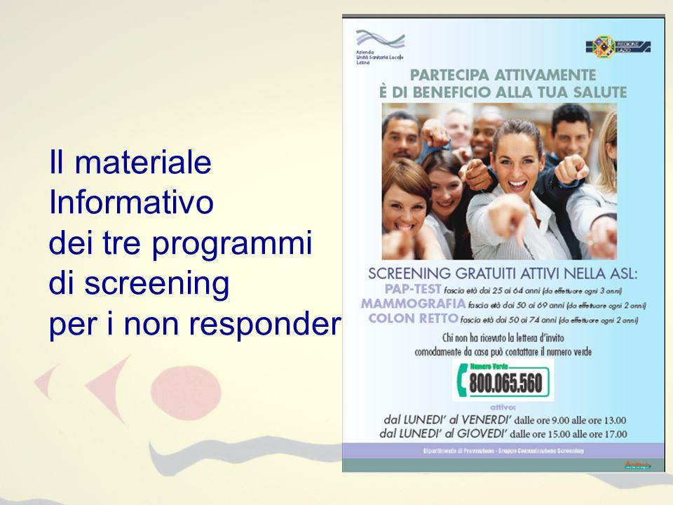 Il materiale Informativo dei tre programmi di screening per i non responder