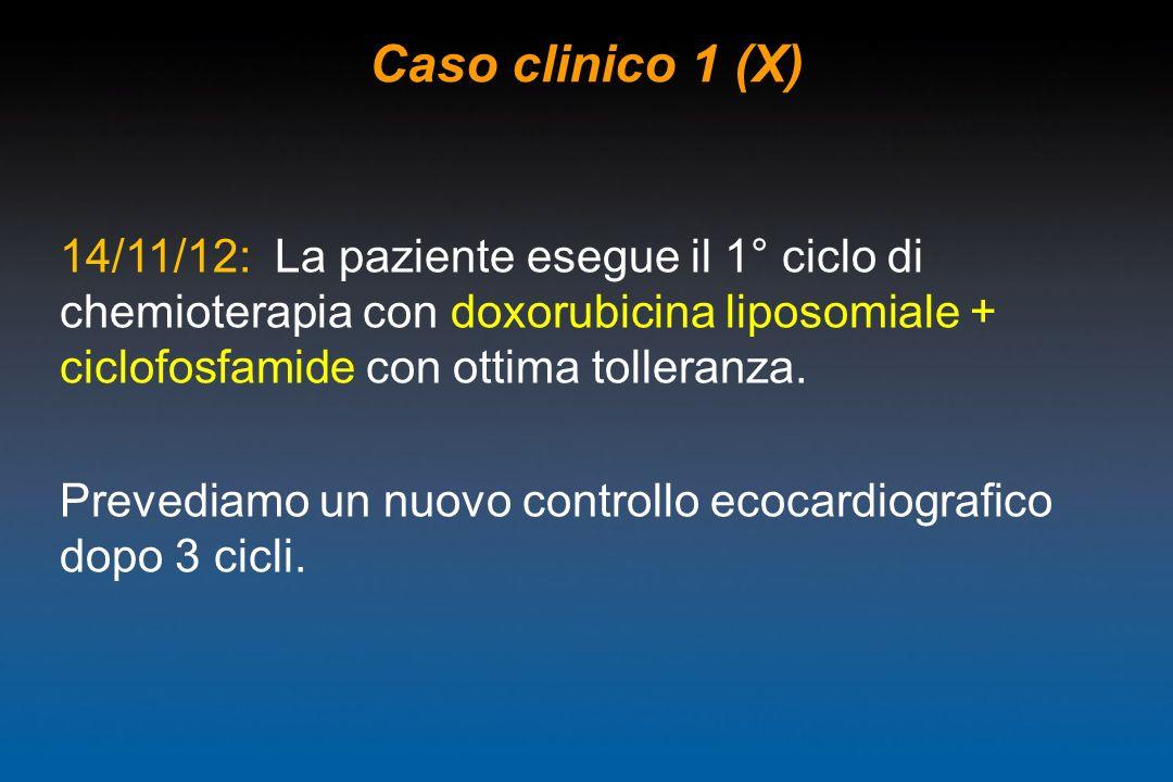 Caso clinico 1 (X) 14/11/12: La paziente esegue il 1° ciclo di chemioterapia con doxorubicina liposomiale + ciclofosfamide con ottima tolleranza. Prev