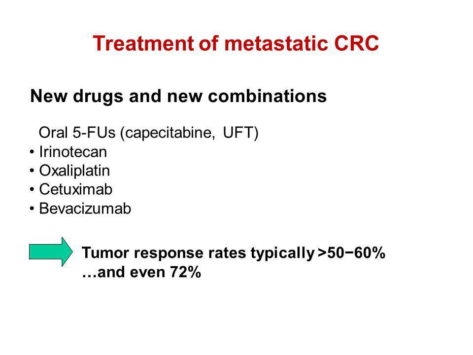 New drugs and new combinations Oral 5-FUs (capecitabine, UFT) Irinotecan Oxaliplatin Cetuximab Bevacizumab Treatment of metastatic CRC Tumor response
