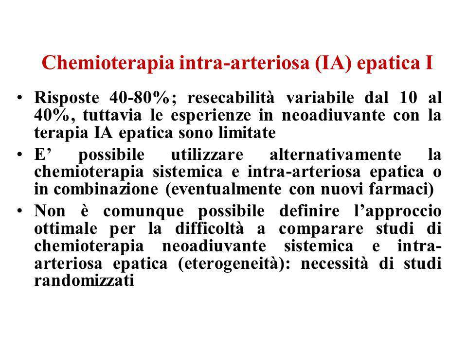 Chemioterapia intra-arteriosa (IA) epatica I Risposte 40-80%; resecabilità variabile dal 10 al 40%, tuttavia le esperienze in neoadiuvante con la tera