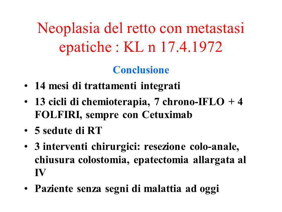 Conclusione 14 mesi di trattamenti integrati 13 cicli di chemioterapia, 7 chrono-IFLO + 4 FOLFIRI, sempre con Cetuximab 5 sedute di RT 3 interventi ch