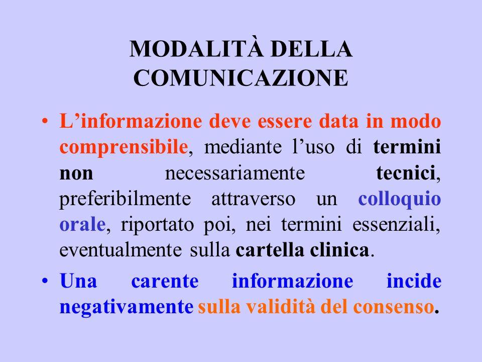MODALITÀ DELLA COMUNICAZIONE Linformazione deve essere data in modo comprensibile, mediante luso di termini non necessariamente tecnici, preferibilmen