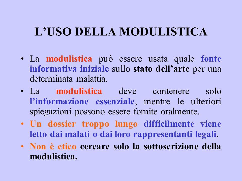 LUSO DELLA MODULISTICA La modulistica può essere usata quale fonte informativa iniziale sullo stato dellarte per una determinata malattia. La modulist