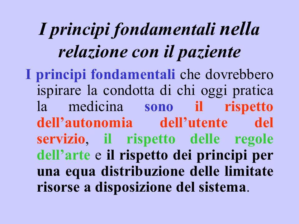 I principi fondamentali nell a relazione con il paziente I principi fondamentali che dovrebbero ispirare la condotta di chi oggi pratica la medicina s