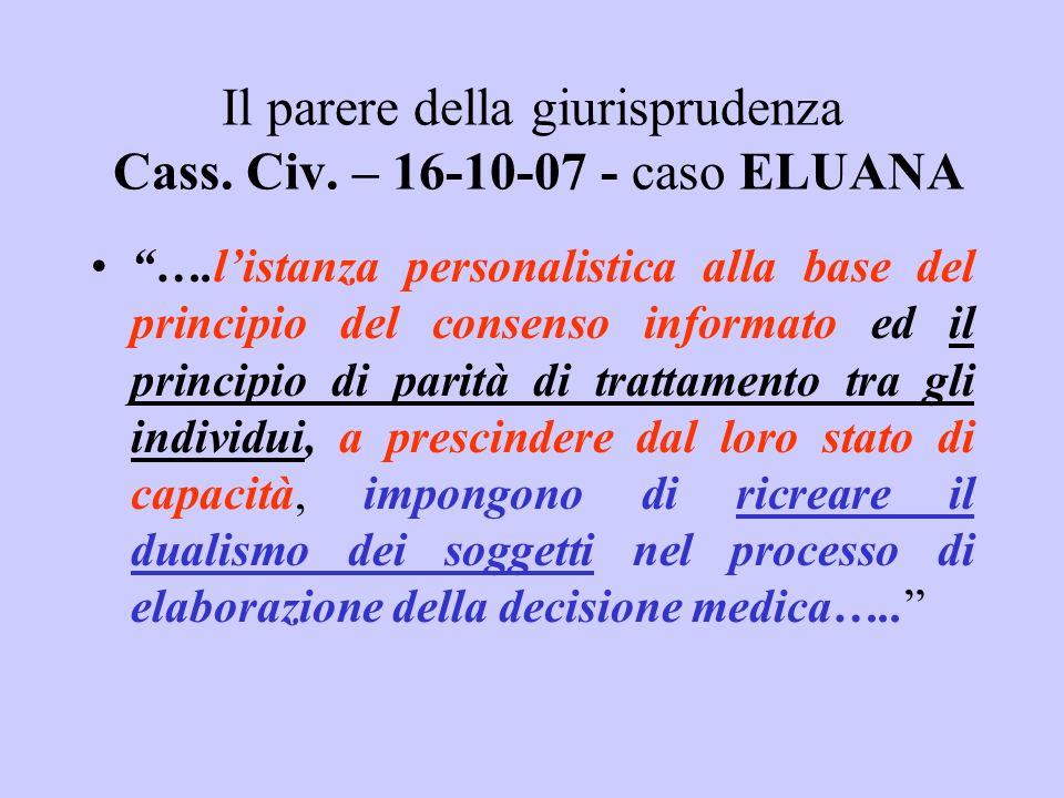 Il parere della giurisprudenza Cass. Civ. – 16-10-07 - caso ELUANA ….listanza personalistica alla base del principio del consenso informato ed il prin