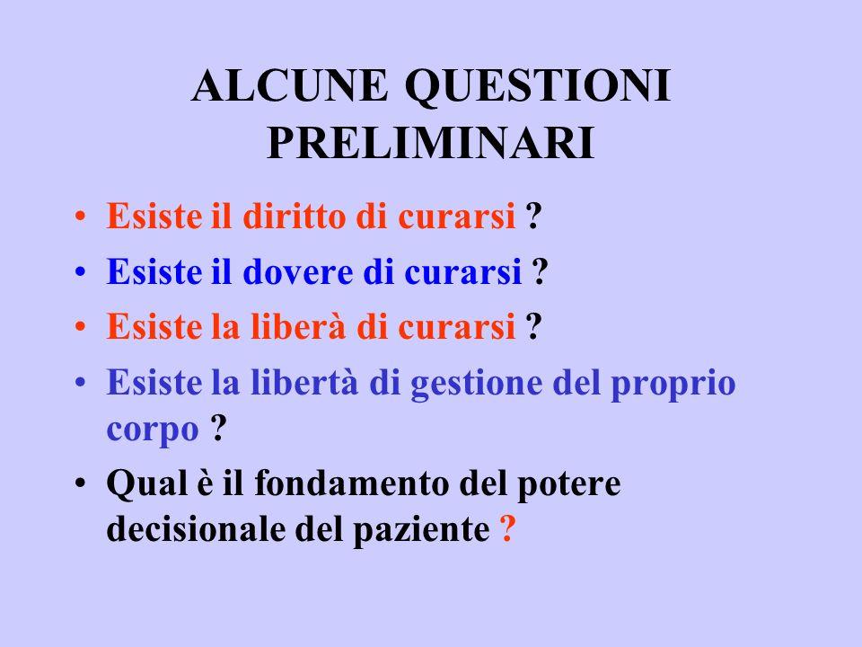 ALCUNE QUESTIONI PRELIMINARI Esiste il diritto di curarsi ? Esiste il dovere di curarsi ? Esiste la liberà di curarsi ? Esiste la libertà di gestione